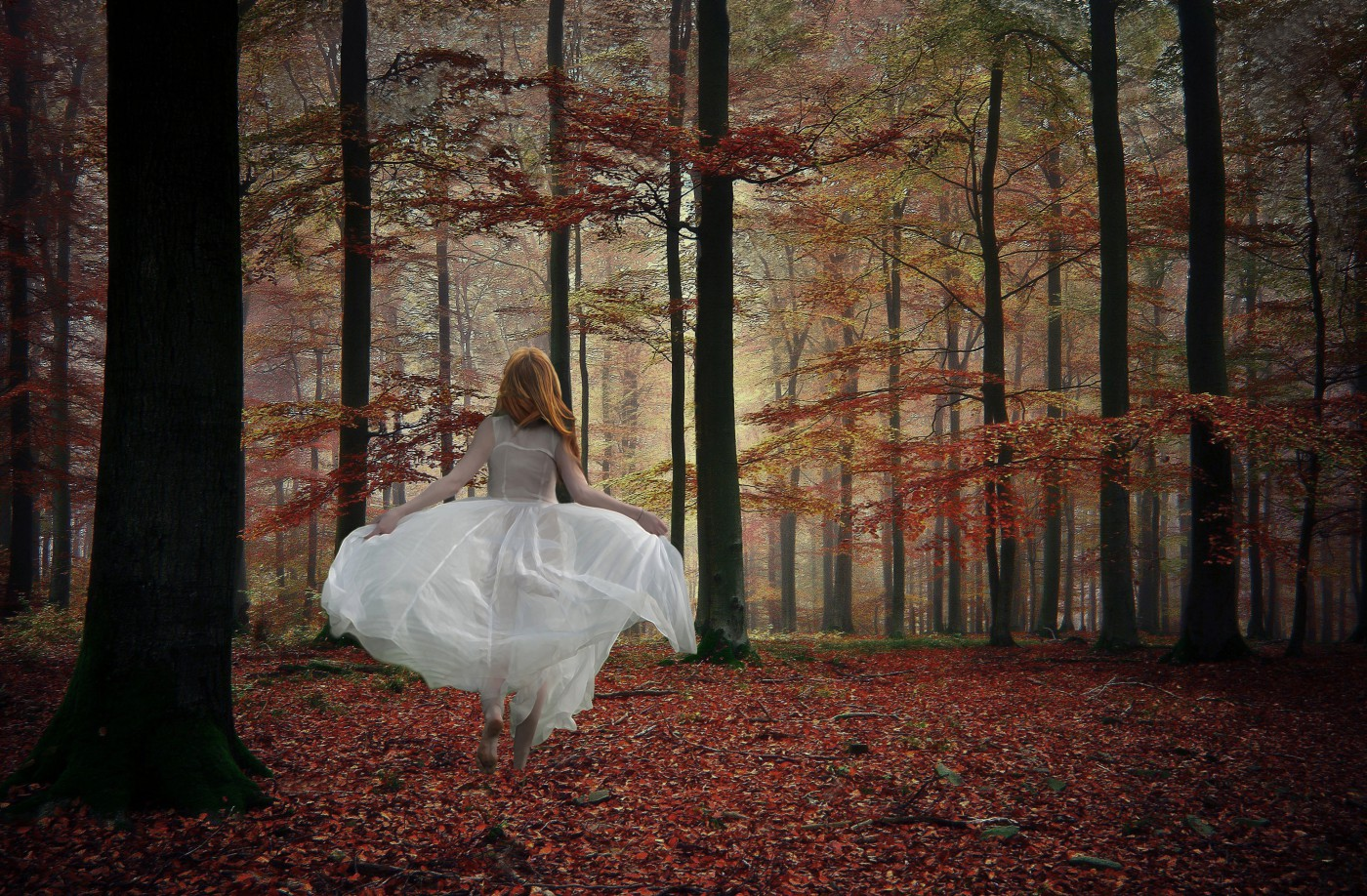 Young bride in autumn forest