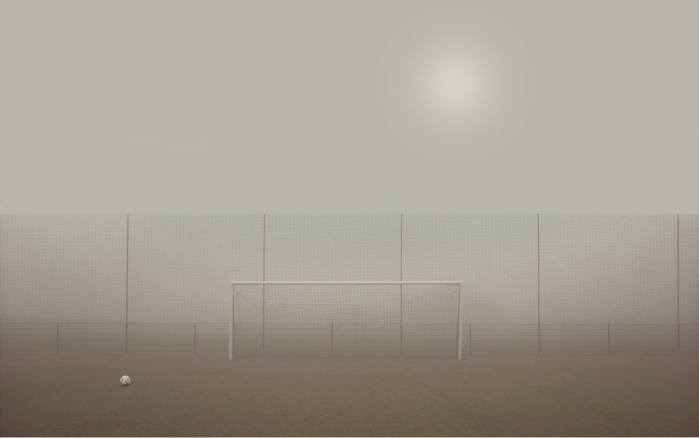 Goal and ball in the mist